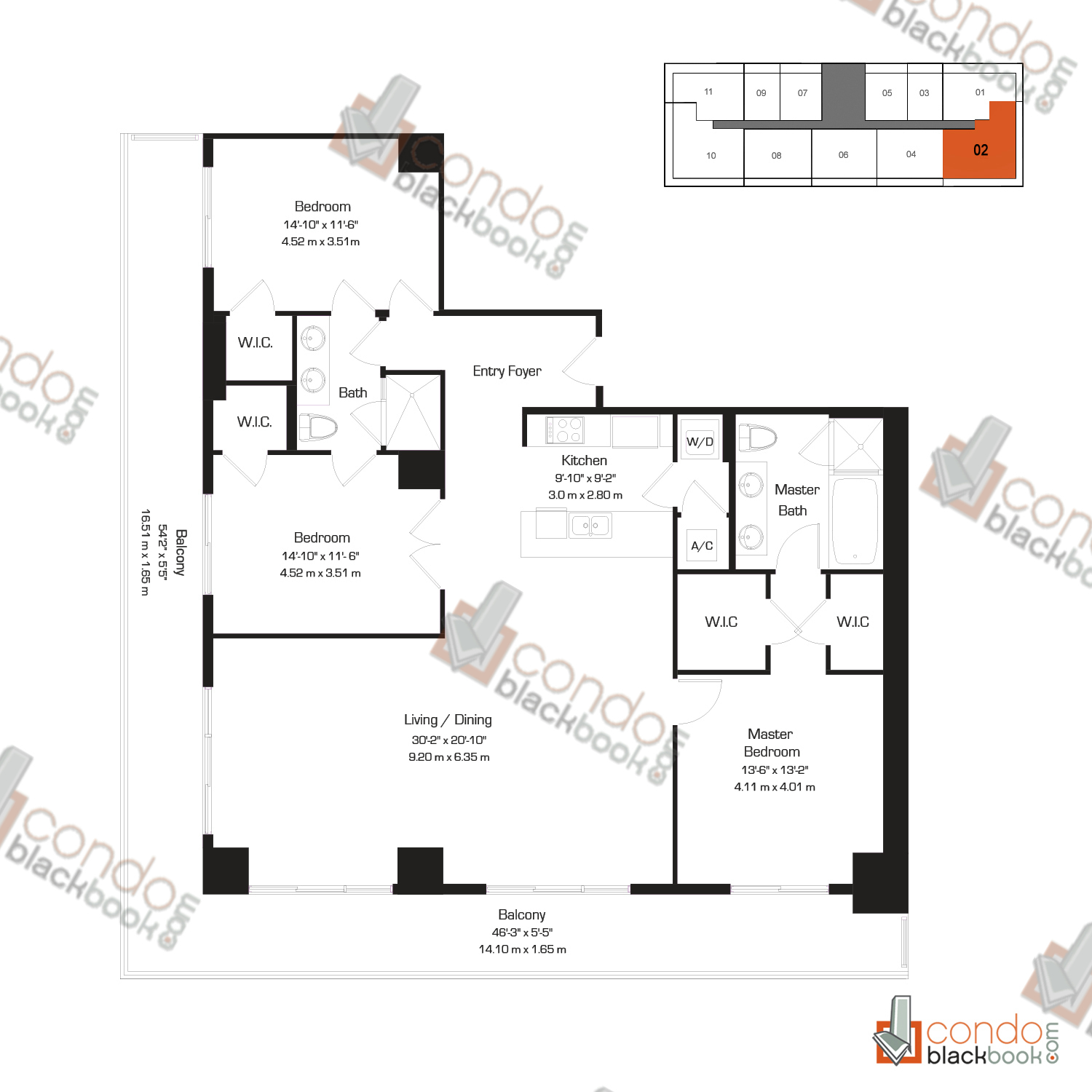 Floor plan for 50 Biscayne Downtown Miami Miami, model K, line 02, 3/2 bedrooms, 1,789 sq ft