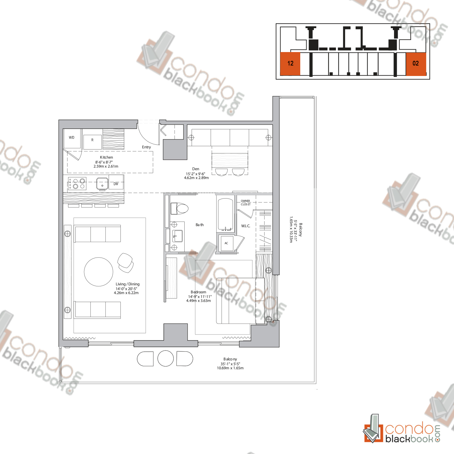 Floor plan for 50 Biscayne Downtown Miami Miami, model P and Z, line 02, 12, 1/1+Den bedrooms, 952 sq ft