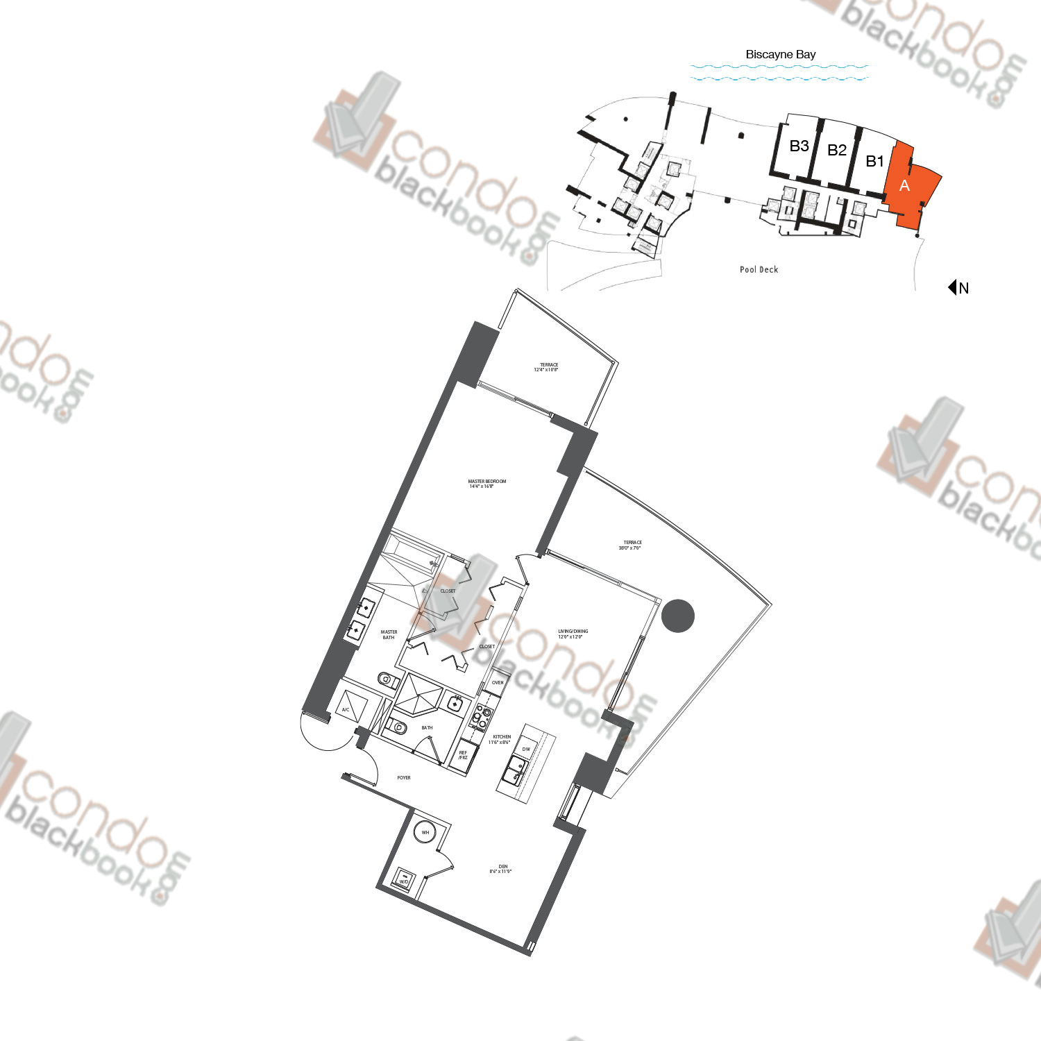 Floor plan for 900 Biscayne Bay Downtown Miami Miami, model FLAT A, line 01, 1/1.5 bedrooms, 1,069 sq ft