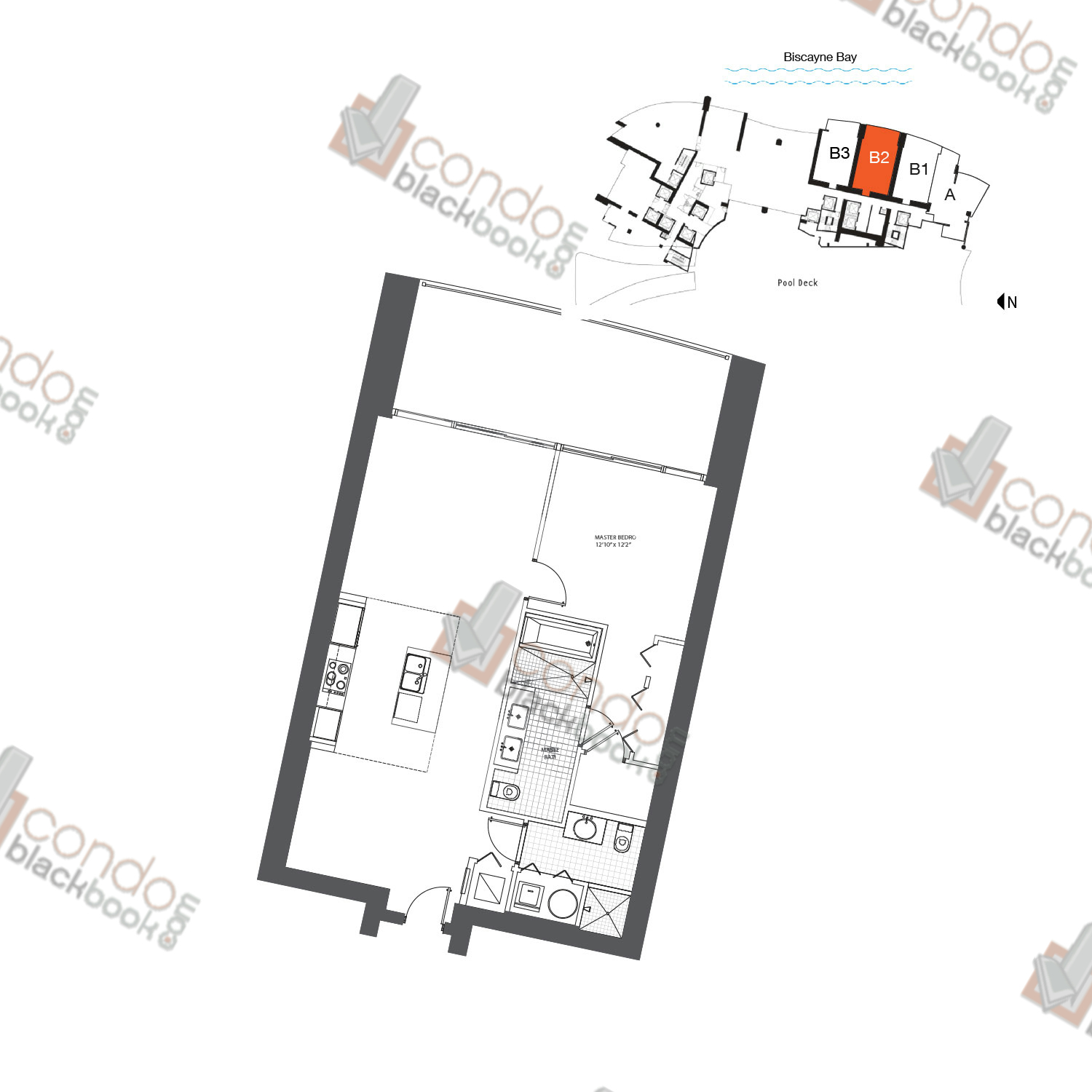 Floor plan for 900 Biscayne Bay Downtown Miami Miami, model FLAT B2, line 05, 1/2 bedrooms, 926 sq ft