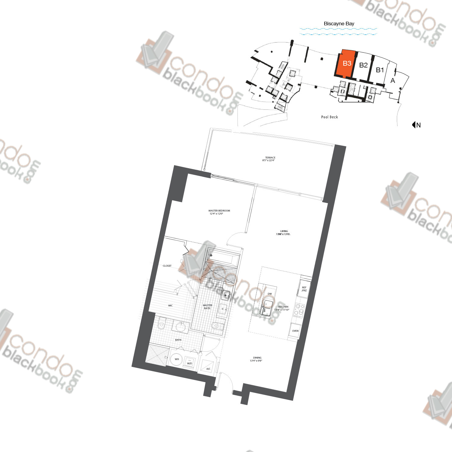 Floor plan for 900 Biscayne Bay Downtown Miami Miami, model FLAT B3, line 07, 1/1.5 bedrooms, 958 sq ft