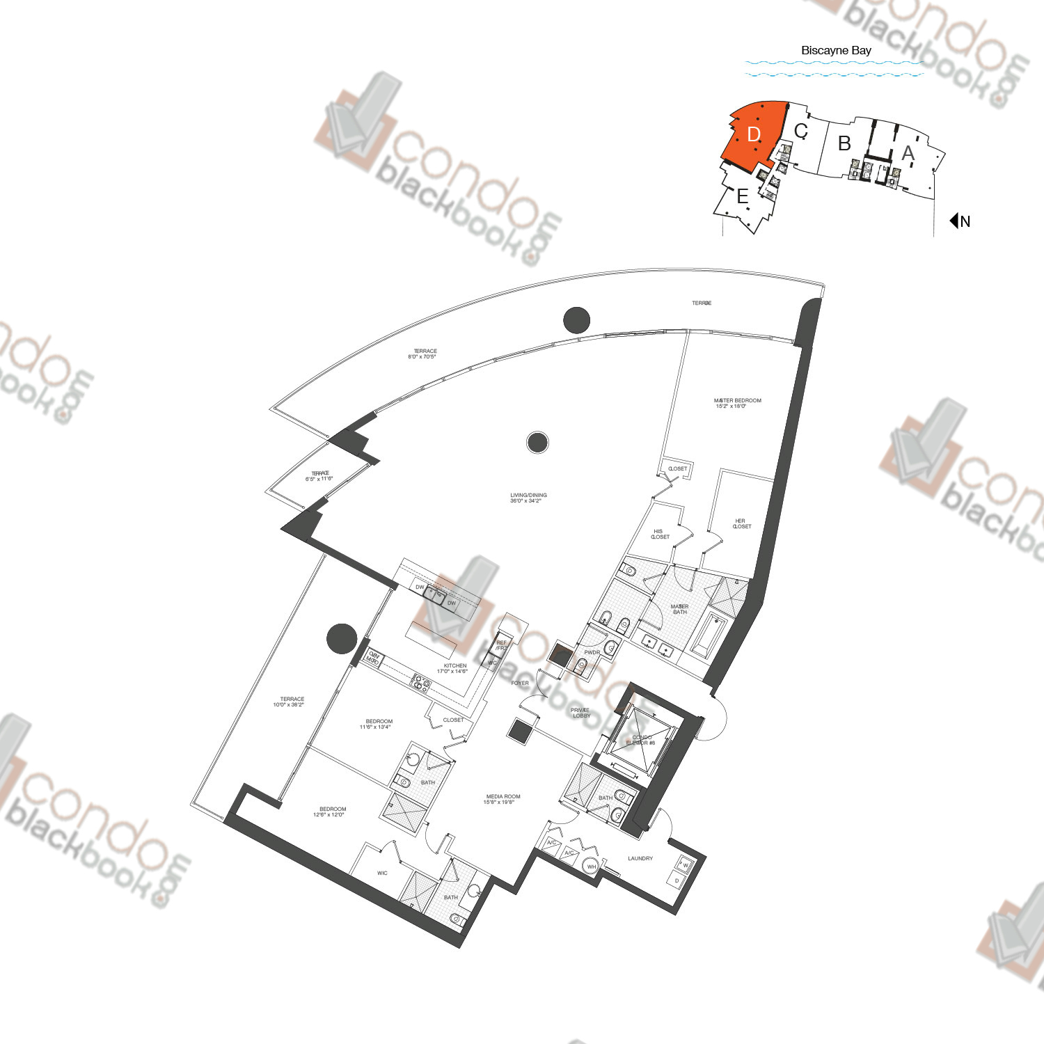 Floor plan for 900 Biscayne Bay Downtown Miami Miami, model PH D, line 07, 3/4.5 bedrooms, 3,535 sq ft