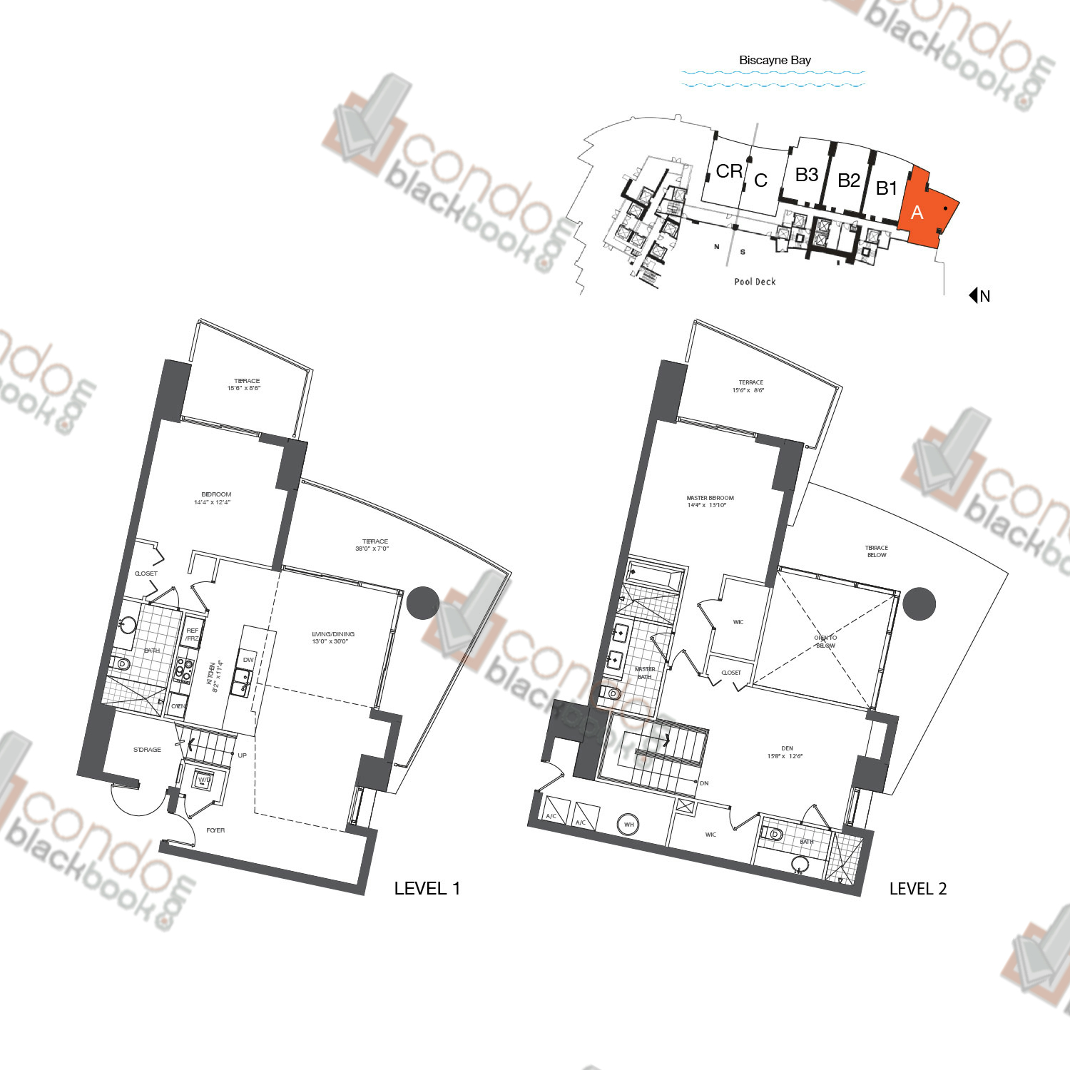 Floor plan for 900 Biscayne Bay Downtown Miami Miami, model TH A, line 01, 2/3+DEN bedrooms, 1,845 sq ft
