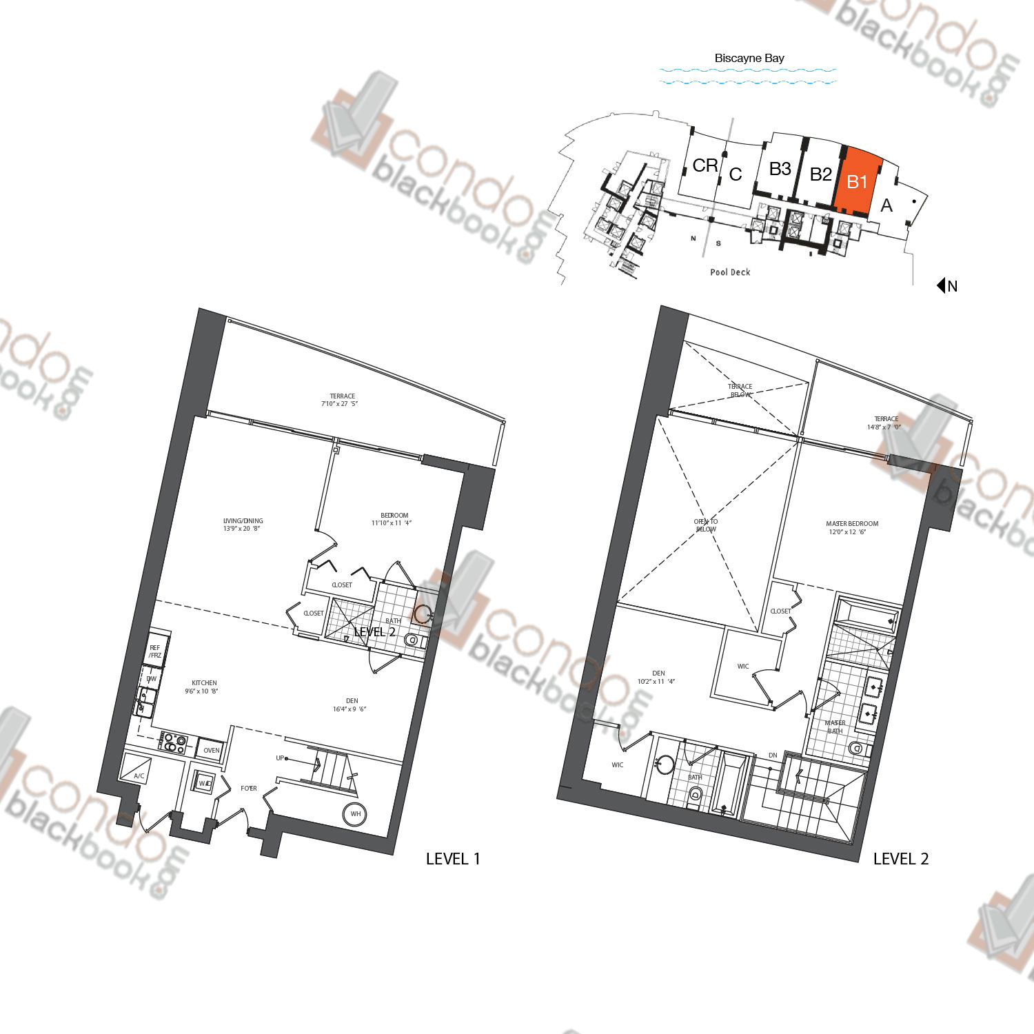 Floor plan for 900 Biscayne Bay Downtown Miami Miami, model TH B1, line 03, 2/3+DEN bedrooms, 1,597 sq ft