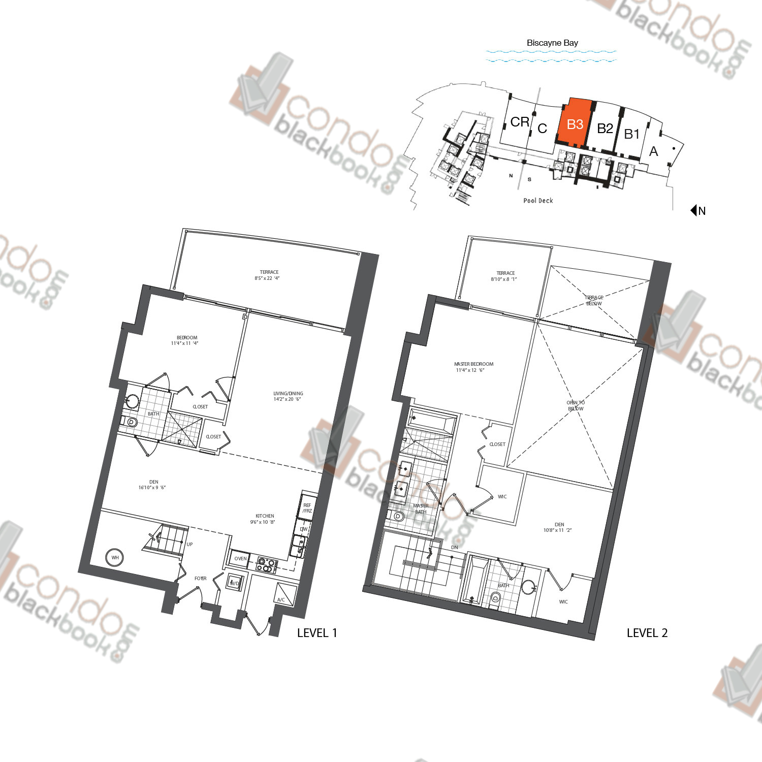 Floor plan for 900 Biscayne Bay Downtown Miami Miami, model TH B3, line 07, 2/3+DEN bedrooms, 1,642 sq ft