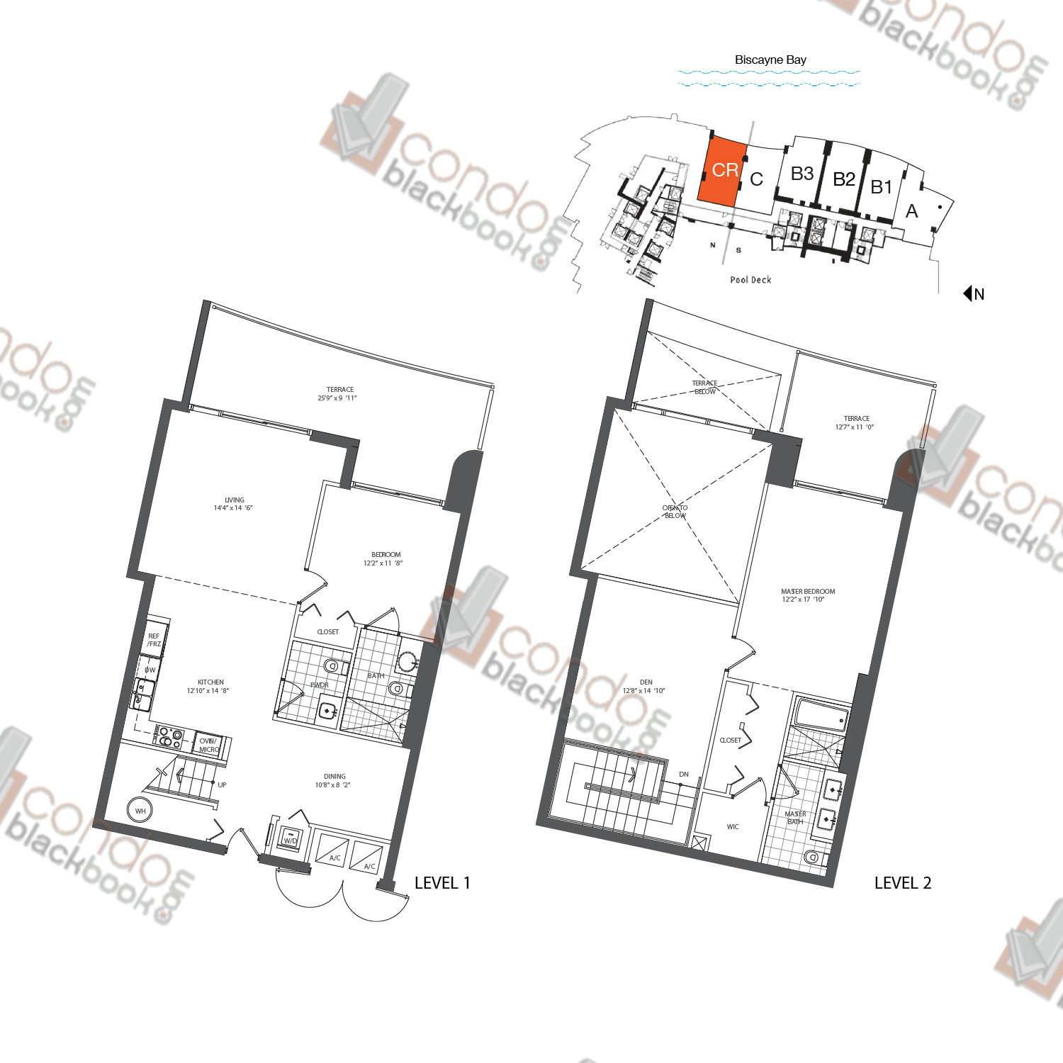 Floor plan for 900 Biscayne Bay Downtown Miami Miami, model TH CR, line 02, 2/2.5 bedrooms, 1,579 sq ft
