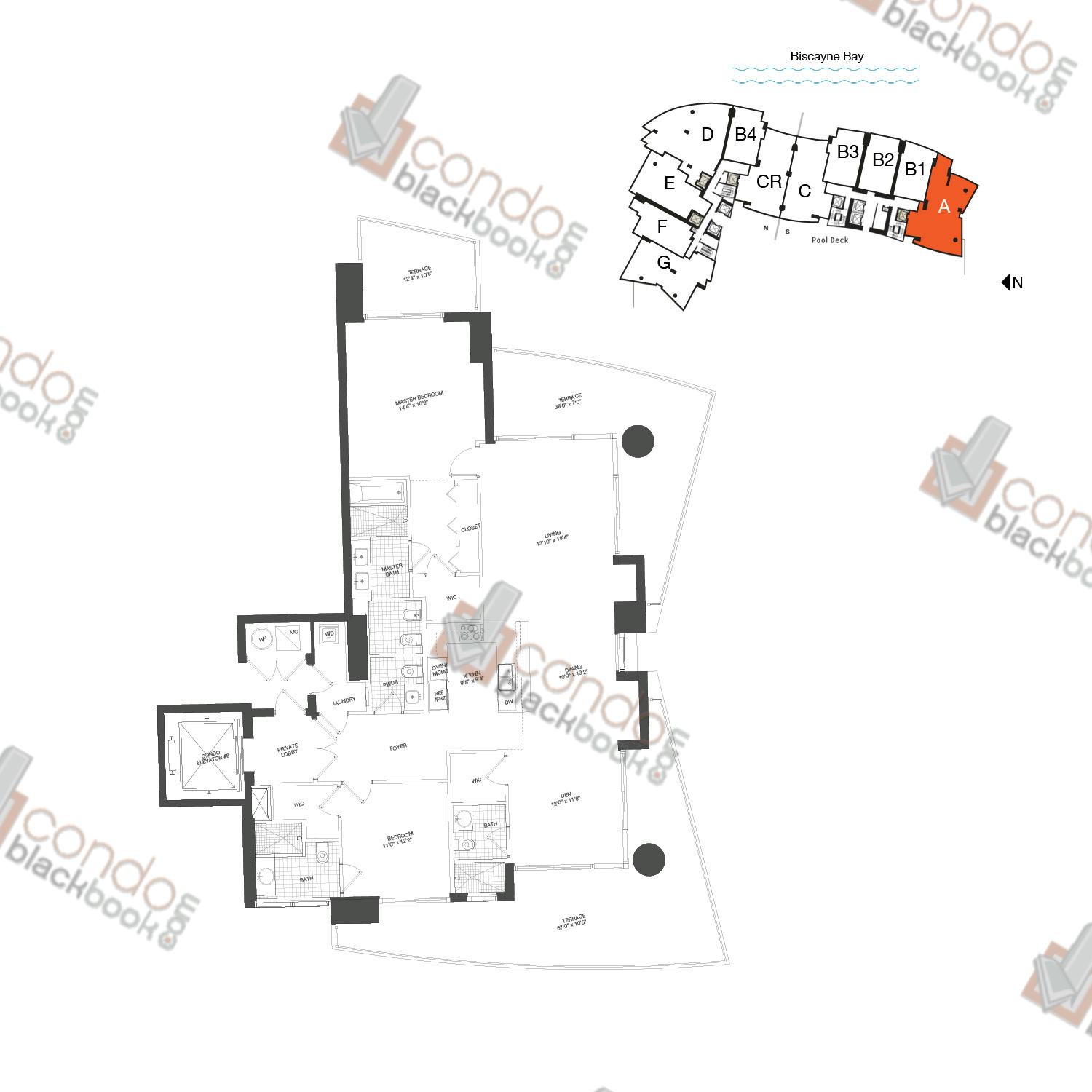 Floor plan for 900 Biscayne Bay Downtown Miami Miami, model Unit A, line 01, 2/3.5+DEN bedrooms, 1,694 sq ft