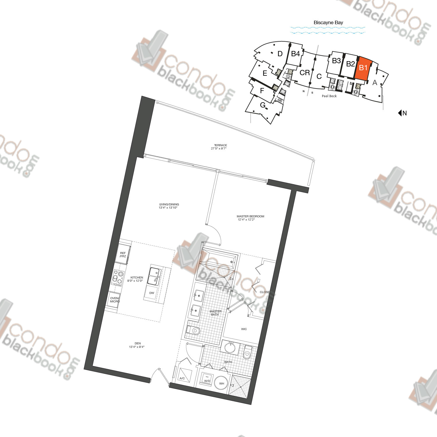 Floor plan for 900 Biscayne Bay Downtown Miami Miami, model Unit B1, line 03, 1/2+DEN bedrooms, 912 sq ft