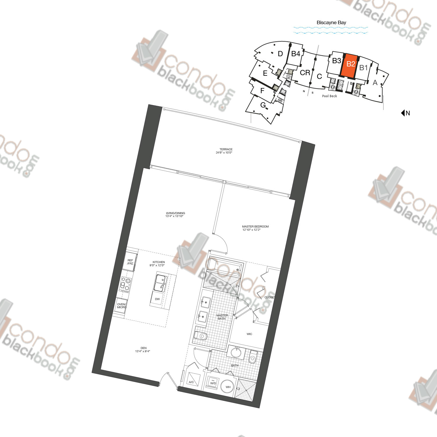 Floor plan for 900 Biscayne Bay Downtown Miami Miami, model Unit B2, line 05, 1/2+DEN bedrooms, 929 sq ft
