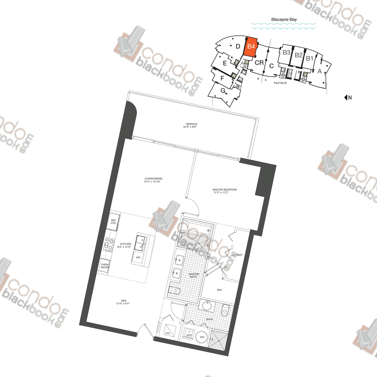 Floor plan for 900 Biscayne Bay Downtown Miami Miami, model Unit B4, line 04, 1/2+DEN bedrooms, 938 sq ft