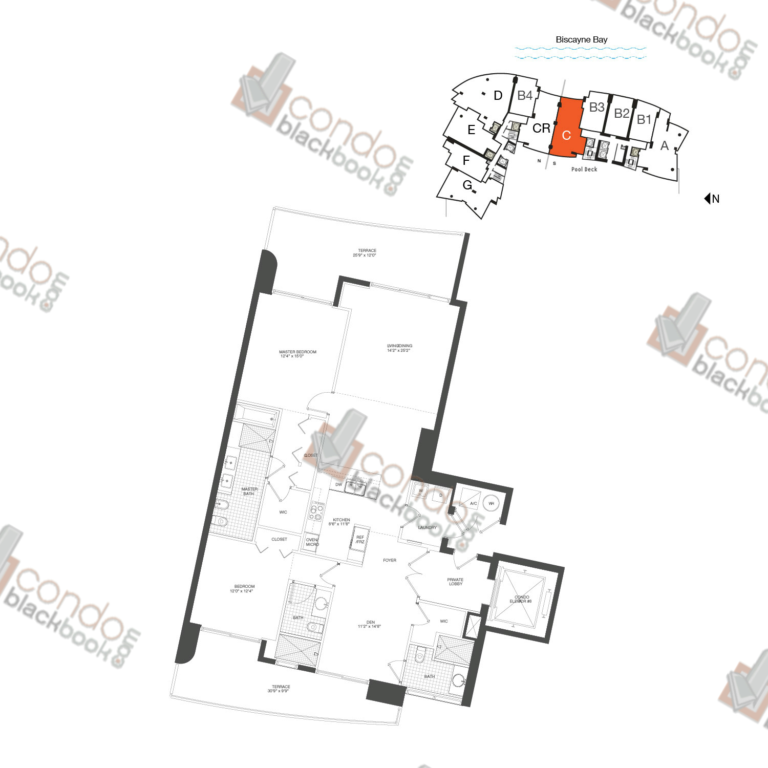 Floor plan for 900 Biscayne Bay Downtown Miami Miami, model Unit C, line 09, 2/3+DEN bedrooms, 1,579 sq ft