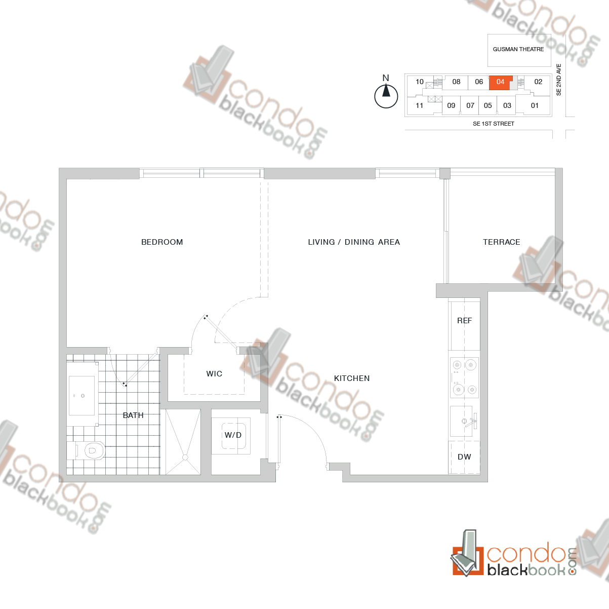 Floor plan for Centro Downtown Miami Miami, model H, line 04, 1/1 bedrooms, 500 sq ft