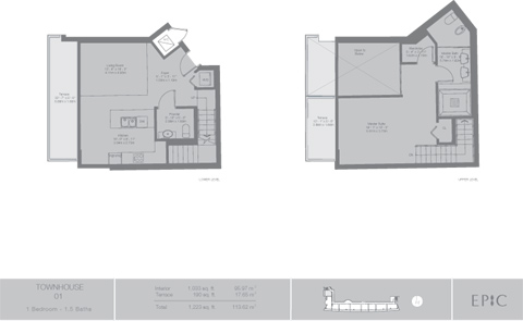 Floor plan for Epic Downtown Miami Miami, model TH1, line 01, 1/1.5 bedrooms, 1033 sq ft