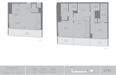 Floor plan for Epic Downtown Miami Miami, model TH3, line 03, 2/3.5 +Den bedrooms, 1563 sq ft