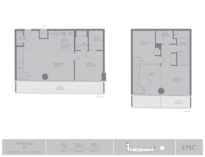 Floor plan for Epic Downtown Miami Miami, model TH5, line 05, 2/2.5 +Den bedrooms, 1708 sq ft