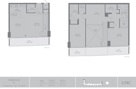 Floor plan for Epic Downtown Miami Miami, model TH7, line 07, 2/2.5 +Den bedrooms, 1729 sq ft