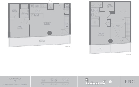 Floor plan for Epic Downtown Miami Miami, model TH8, line 08, 2/2.5 +Den bedrooms, 1579 sq ft