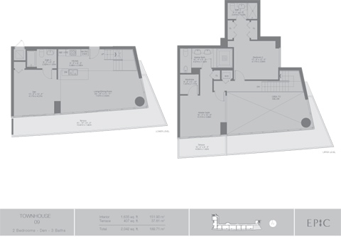 Floor plan for Epic Downtown Miami Miami, model TH9, line 09, 2/3 +Den bedrooms, 1635 sq ft