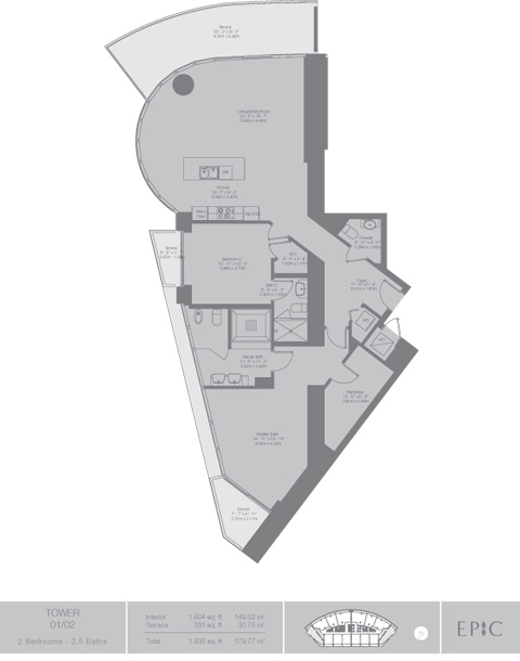Floor plan for Epic Downtown Miami Miami, model Tower1, line 01,02, 2/2.5 bedrooms, 1604 sq ft
