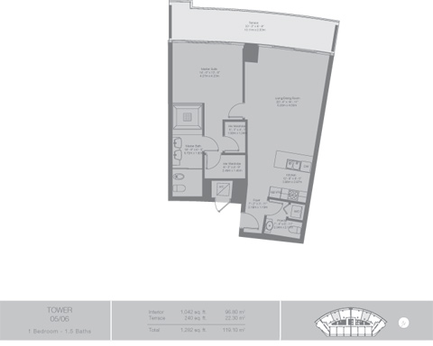Floor plan for Epic Downtown Miami Miami, model Tower3, line 05,06, 1/1.5 bedrooms, 1042 sq ft