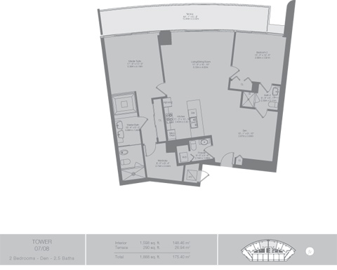 Floor plan for Epic Downtown Miami Miami, model Tower4, line 07,08, 2/2.5 +Den bedrooms, 1598 sq ft