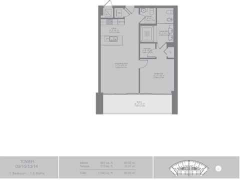 Floor plan for Epic Downtown Miami Miami, model Tower5, line 09,10,13,14, 1/1.5 bedrooms, 867 sq ft