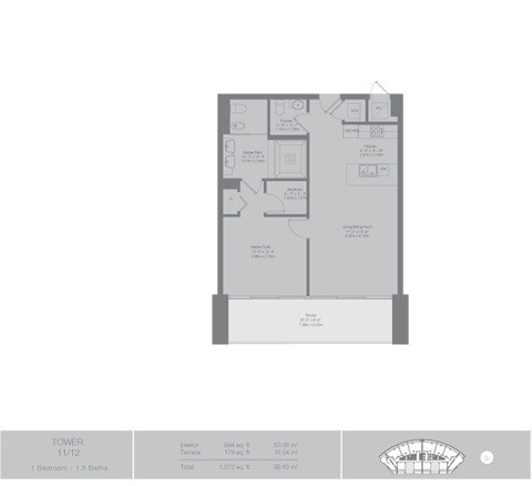 Floor plan for Epic Downtown Miami Miami, model Tower6, line 11,12, 1/1.5 bedrooms, 898 sq ft