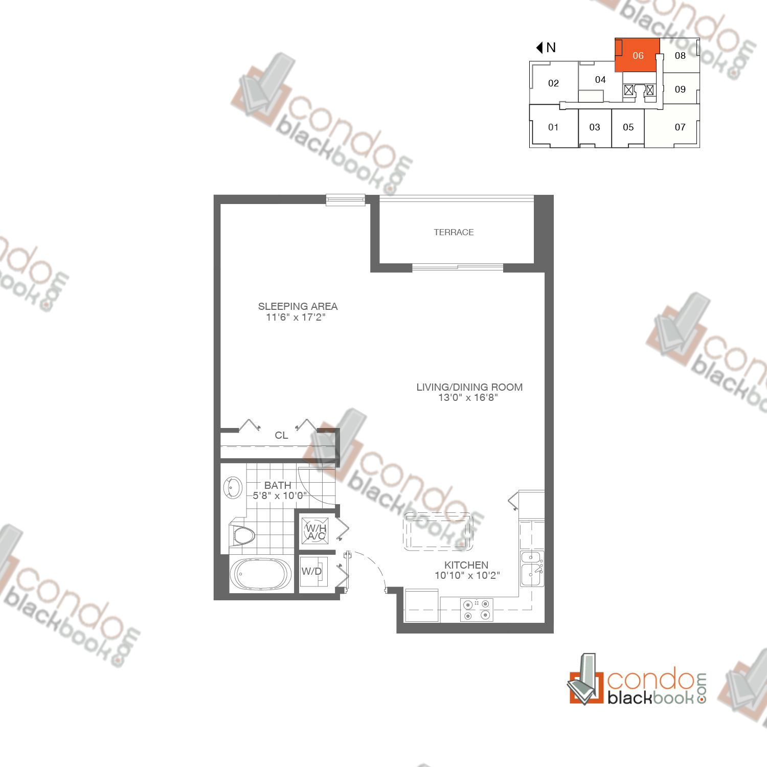 Floor plan for Loft Downtown I Downtown Miami Miami, model A4, line 06,  1/1 bedrooms, 738 sq ft