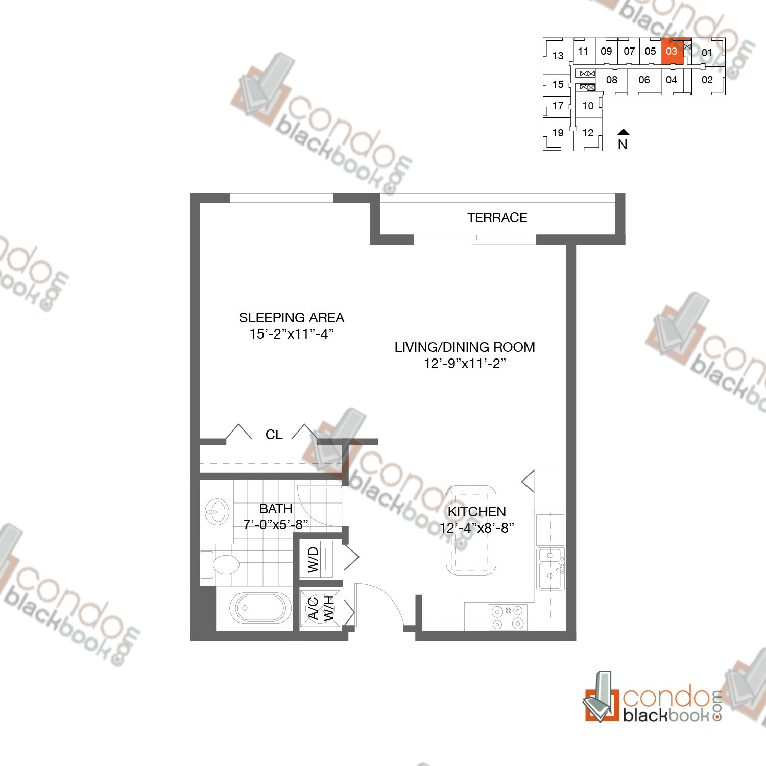 Floor plan for Loft Downtown II Downtown Miami Miami, model A2, line 03, 1/1 bedrooms, 646 sq ft