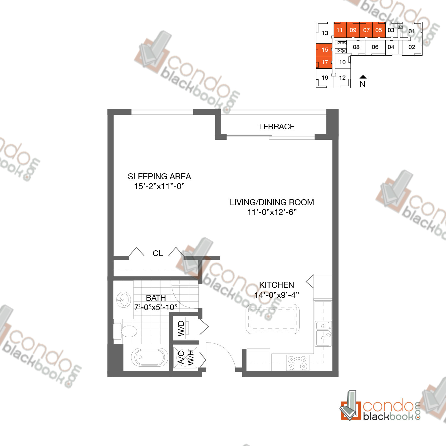 Floor plan for Loft Downtown II Downtown Miami Miami, model A3, line 05, 07, 09, 11, 15, 17, 2/2 bedrooms, 1153 sq ft