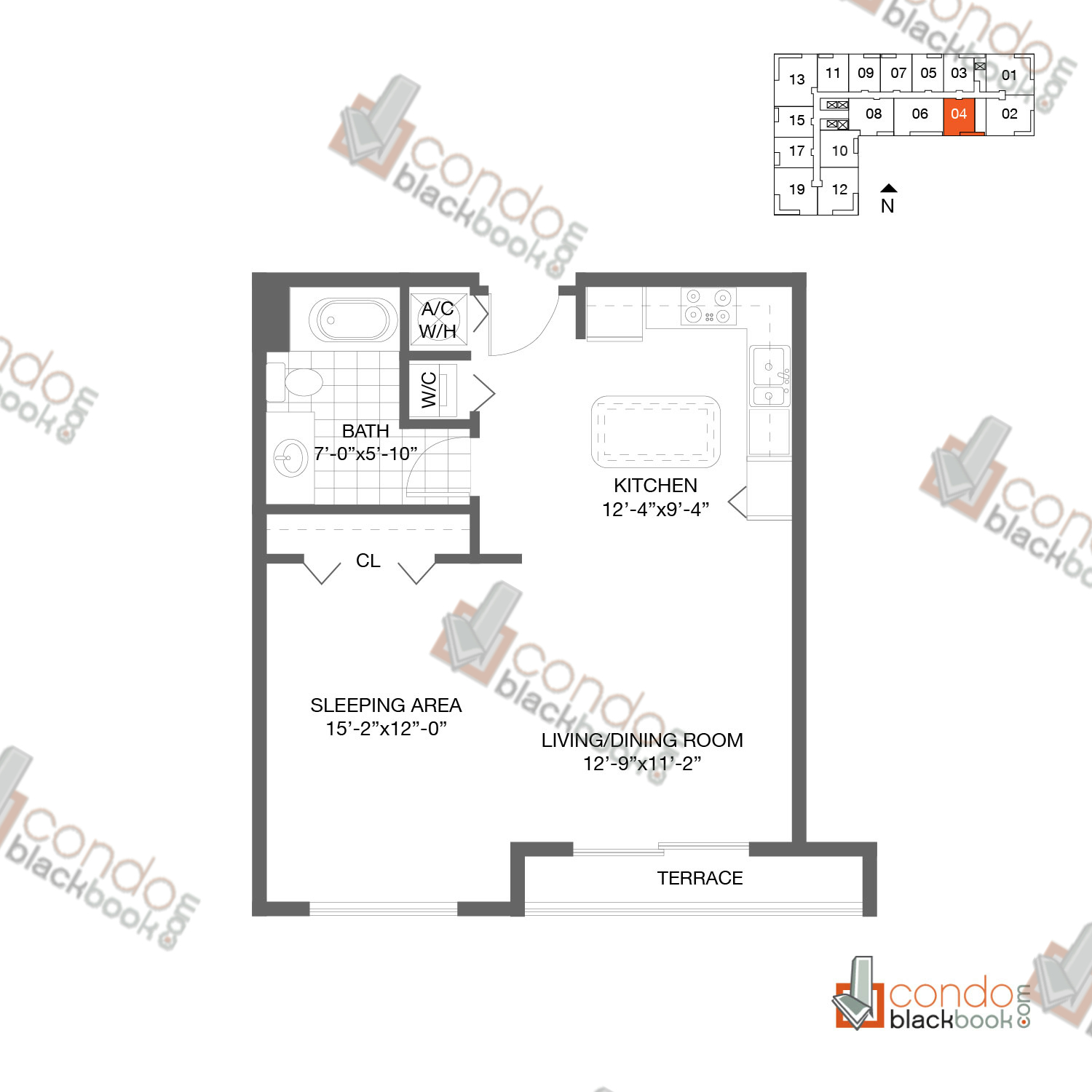 Floor plan for Loft Downtown II Downtown Miami Miami, model A4, line 04, 1/1 bedrooms, 665 sq ft