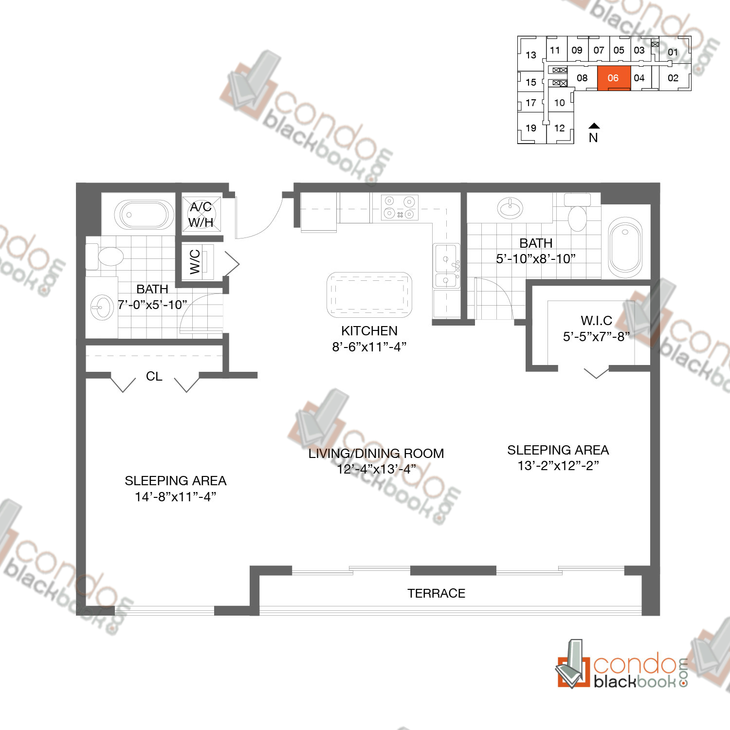 Floor plan for Loft Downtown II Downtown Miami Miami, model B1, line 06, 2/2 bedrooms, 1.010 sq ft