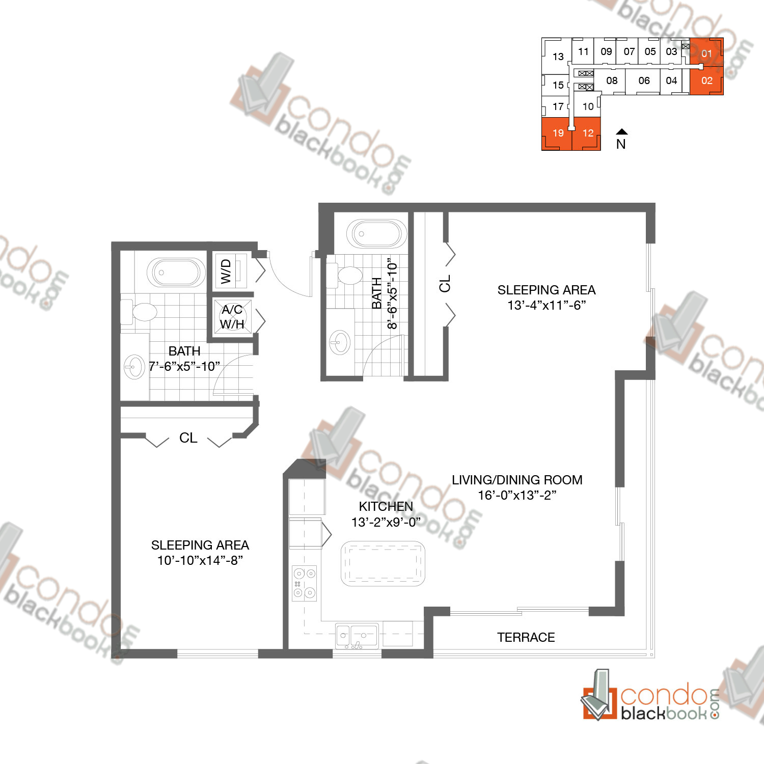 Floor plan for Loft Downtown II Downtown Miami Miami, model B2, line 01, 02, 12, 19, 2/2 bedrooms, 1,041 sq ft