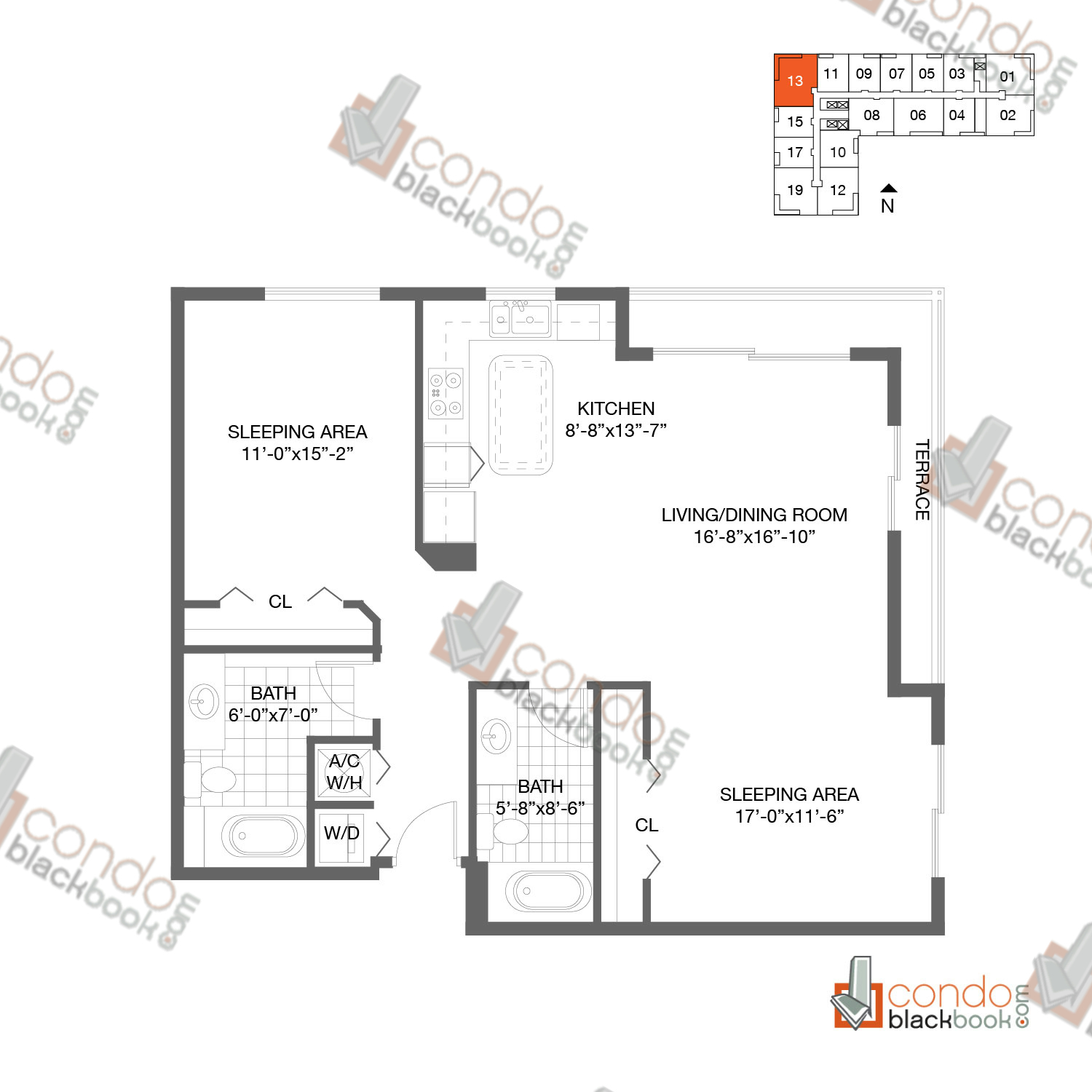 Floor plan for Loft Downtown II Downtown Miami Miami, model B3, line 13,  2/2 bedrooms, 1153 sq ft