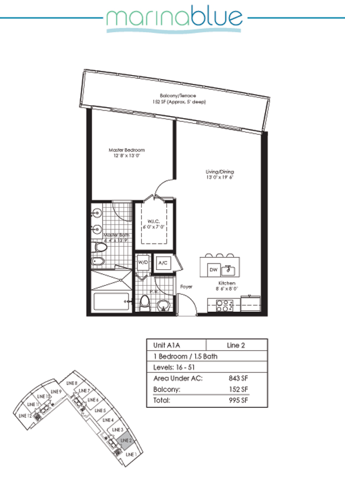 Floor plan for Marina Blue Downtown Miami Miami, model A1A, line 02, 1/1.5 bedrooms, 843 sq ft