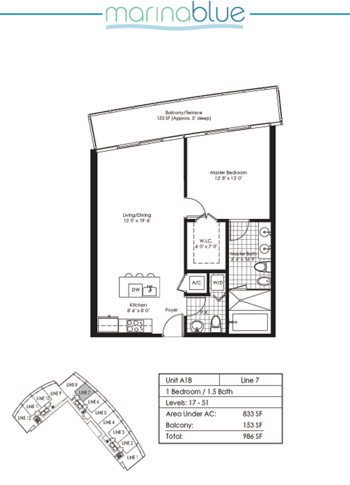 Floor plan for Marina Blue Downtown Miami Miami, model A1B, line 07, 1/1.5 bedrooms, 833 sq ft