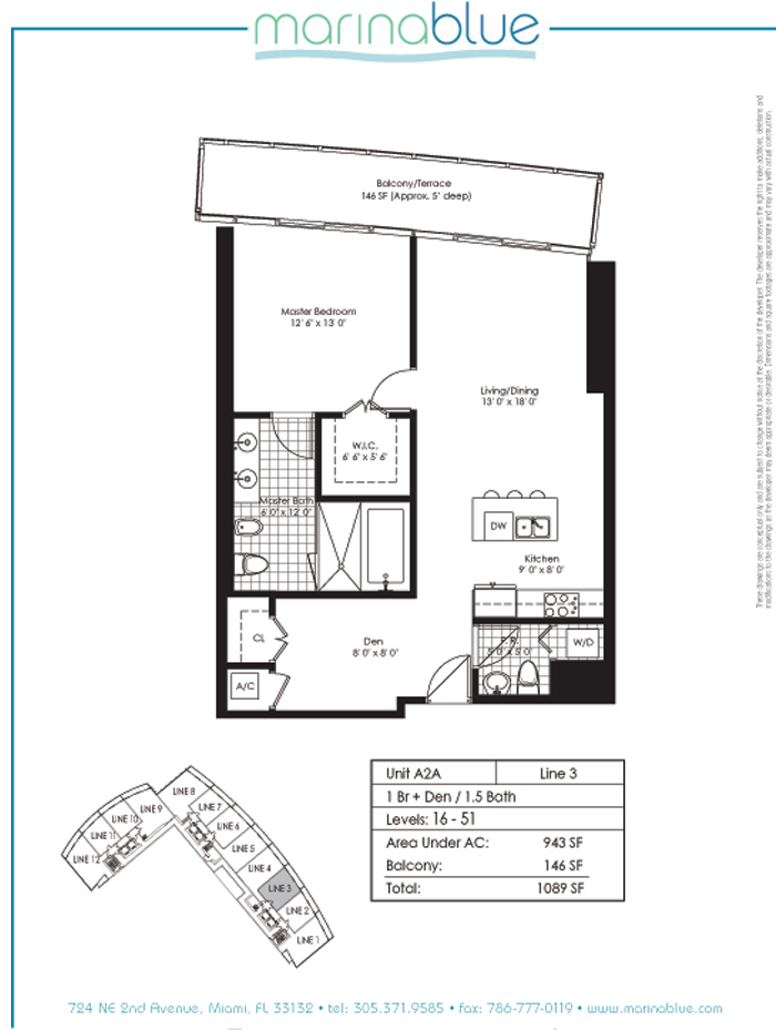 Floor plan for Marina Blue Downtown Miami Miami, model A2A, line 03, 1/1.5 +Den bedrooms, 943 sq ft