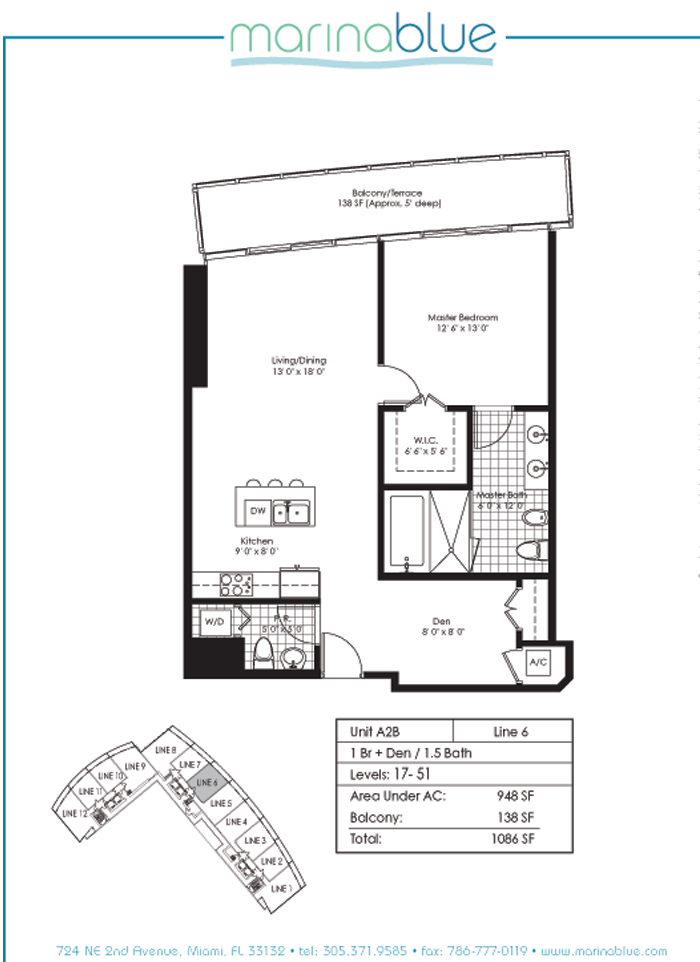 Floor plan for Marina Blue Downtown Miami Miami, model A2B, line 06, 1/1.5 + Den bedrooms, 948 sq ft
