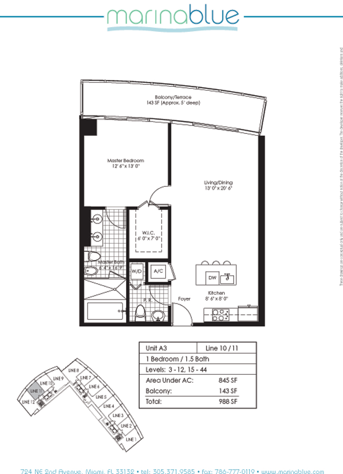 Floor plan for Marina Blue Downtown Miami Miami, model A3, line 10,11, 1/1.5 bedrooms, 845 sq ft