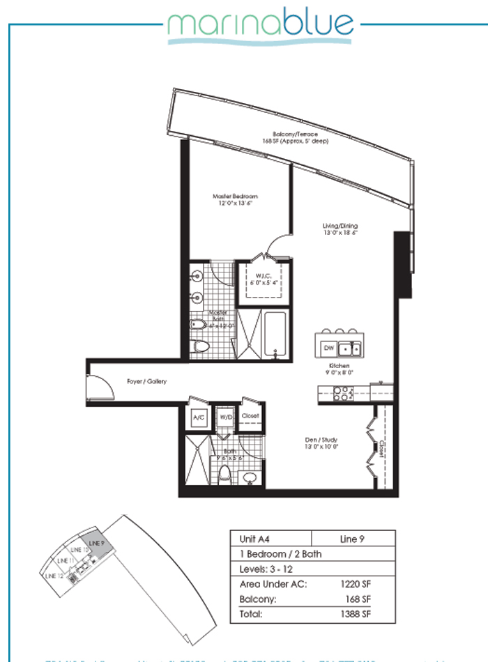 Floor plan for Marina Blue Downtown Miami Miami, model A4, line 09, 1/2 bedrooms, 1220 sq ft