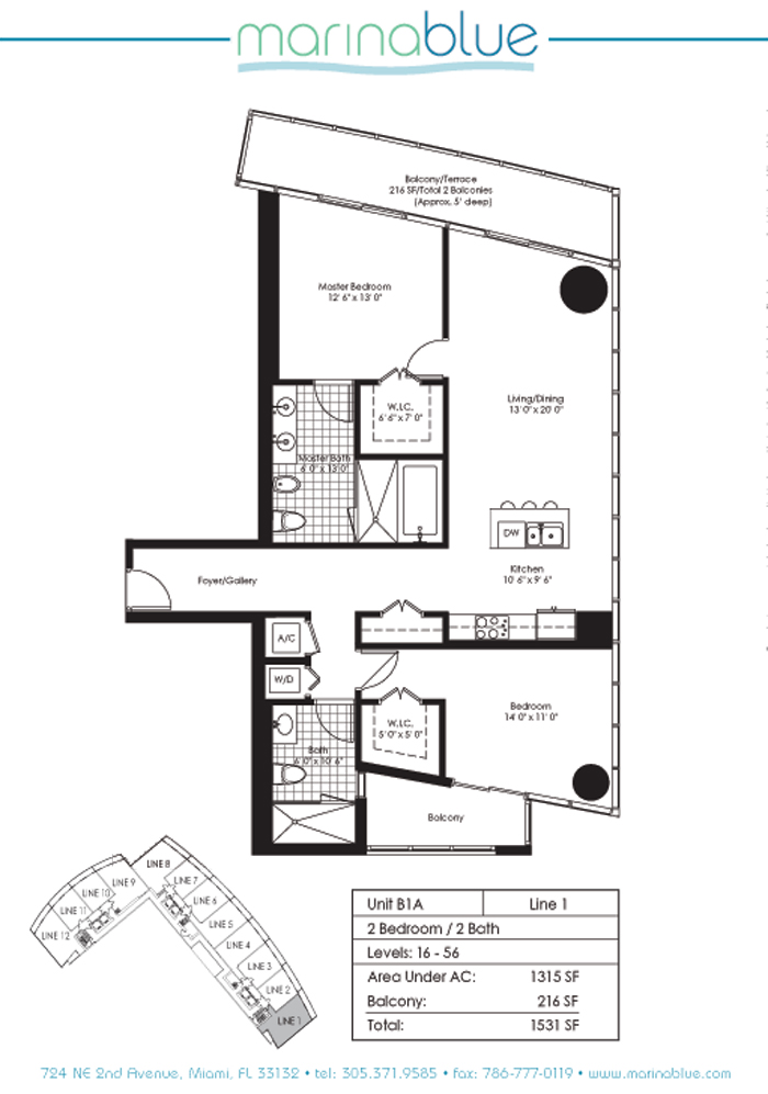 Floor plan for Marina Blue Downtown Miami Miami, model B1A, line 01, 2/2 bedrooms, 1315 sq ft