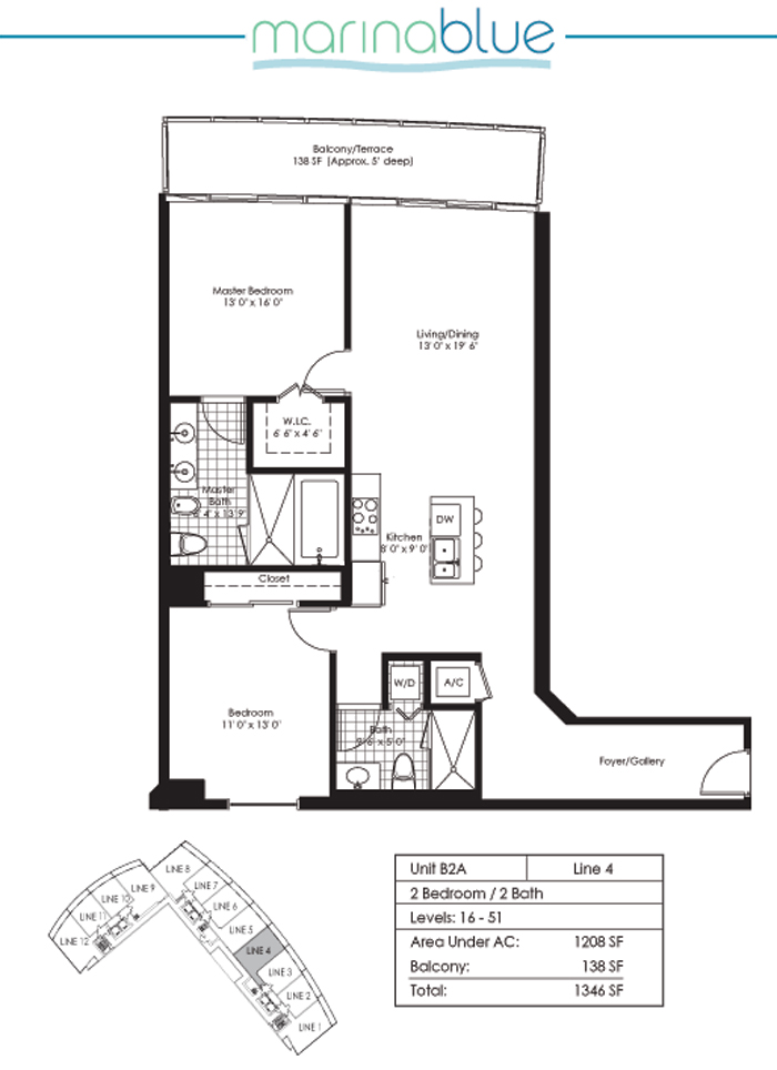 Floor plan for Marina Blue Downtown Miami Miami, model B2A, line 04, 2/2 bedrooms, 1209 sq ft