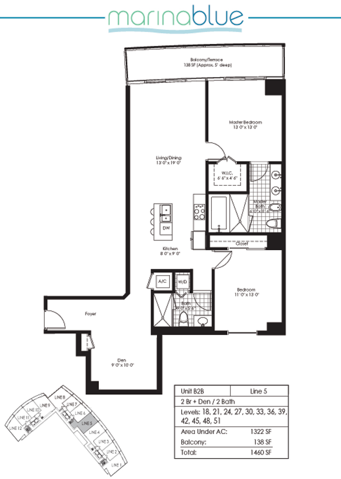 Floor plan for Marina Blue Downtown Miami Miami, model B2B, line 05, 2/2 +Den bedrooms, 1322 sq ft