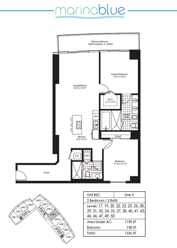 Floor plan for Marina Blue Downtown Miami Miami, model B2C, line 05, 2/2 bedrooms, 1198 sq ft
