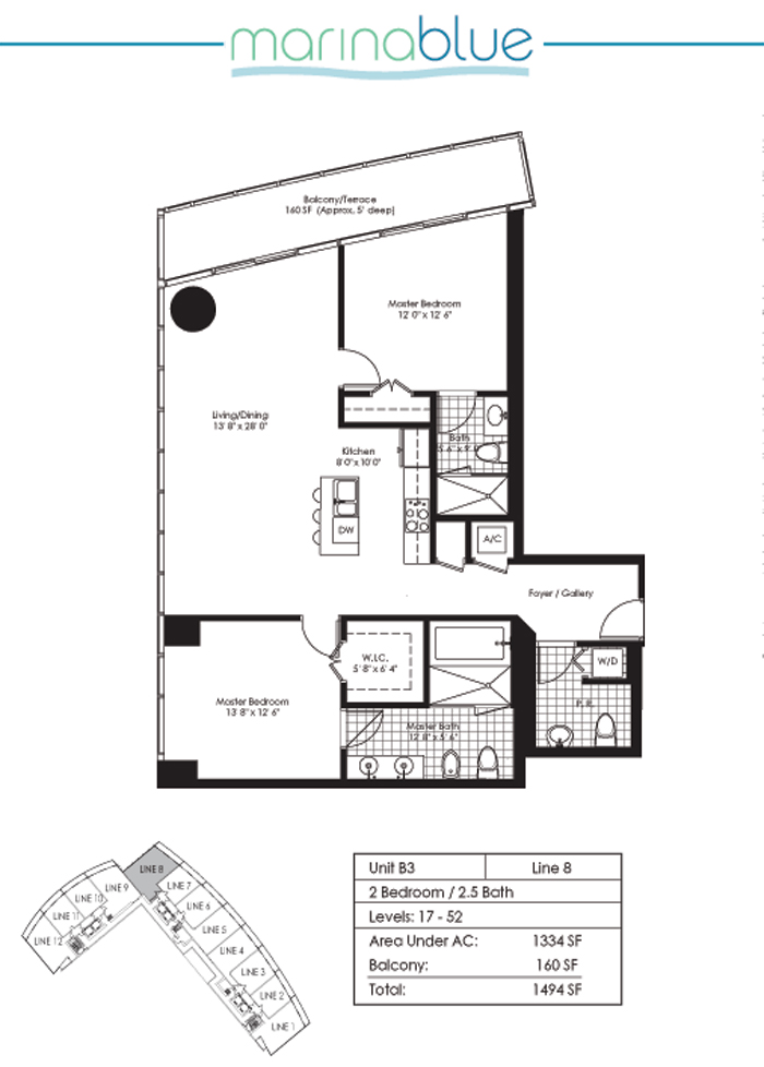 Floor plan for Marina Blue Downtown Miami Miami, model B3, line 08, 2/2.5 bedrooms, 1334 sq ft