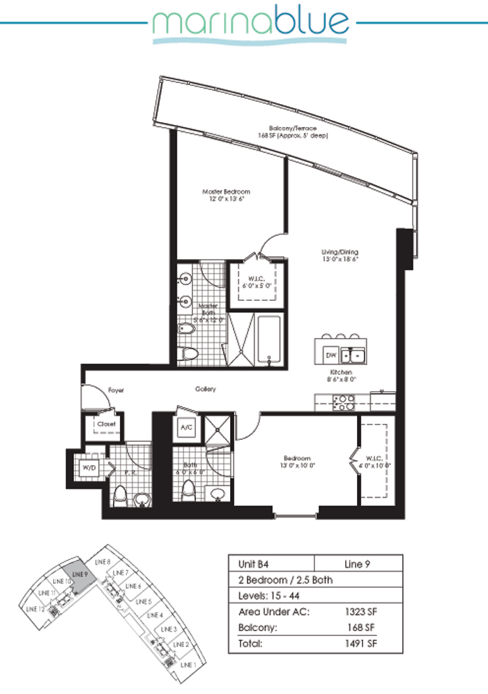 Floor plan for Marina Blue Downtown Miami Miami, model B4, line 09, 2/2.5 bedrooms, 1323 sq ft