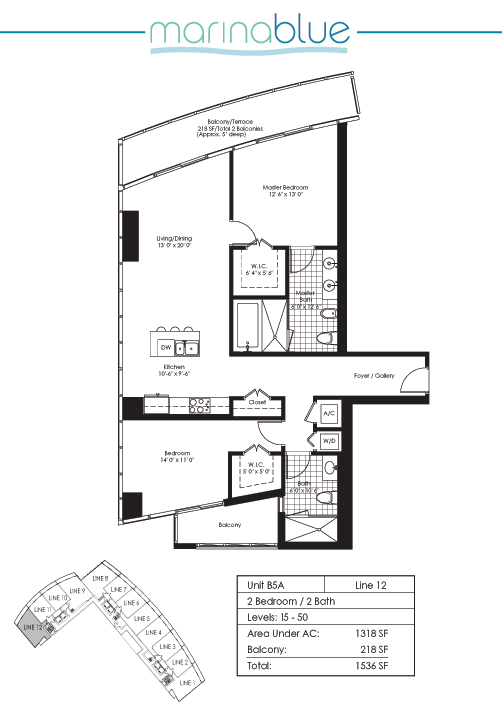 Floor plan for Marina Blue Downtown Miami Miami, model B5A, line 12, 2/2 bedrooms, 1318 sq ft