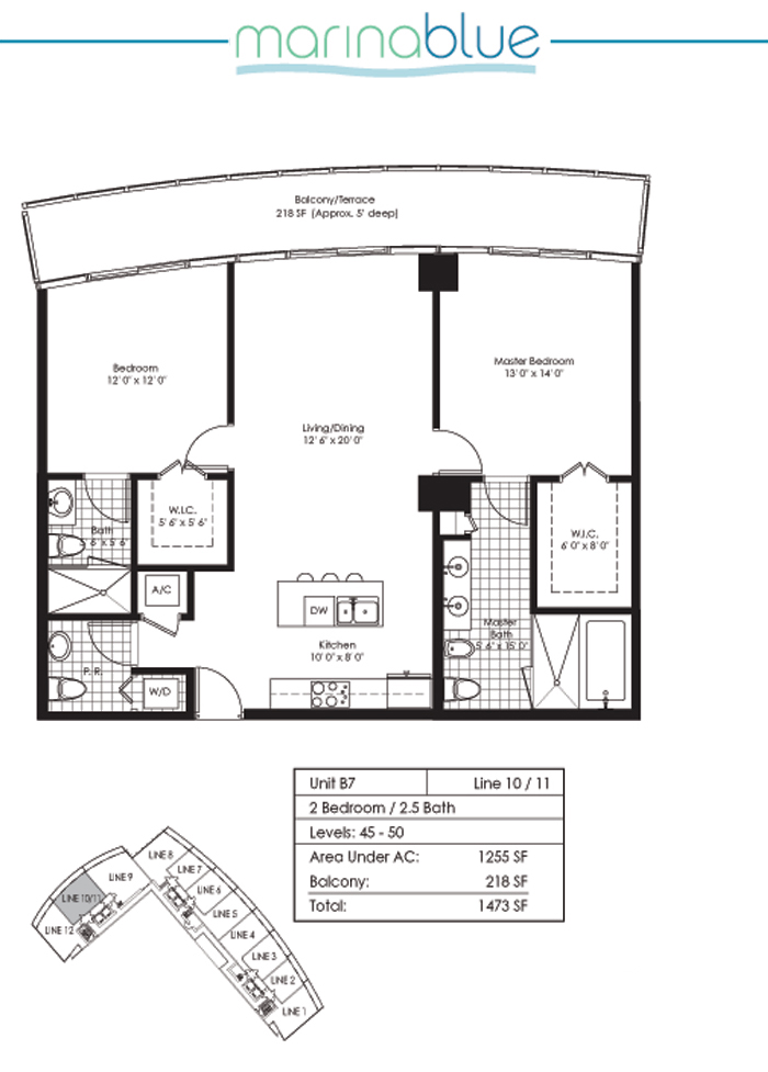 Floor plan for Marina Blue Downtown Miami Miami, model B7, line 10,11, 2/2.5 bedrooms, 1255 sq ft