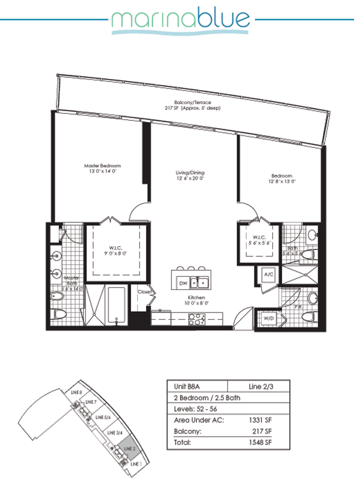 Floor plan for Marina Blue Downtown Miami Miami, model B8A, line 02,03, 2/2.5 bedrooms, 1331 sq ft