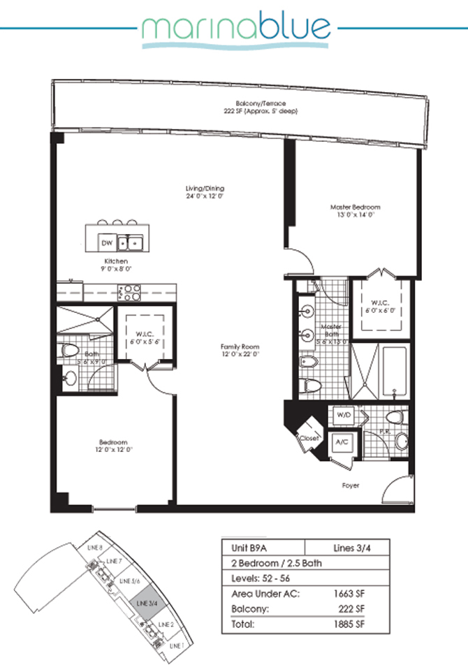 Floor plan for Marina Blue Downtown Miami Miami, model B9A, line 03,04, 2/2.5 bedrooms, 1663 sq ft